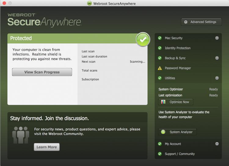 bedieningspaneel van webroot