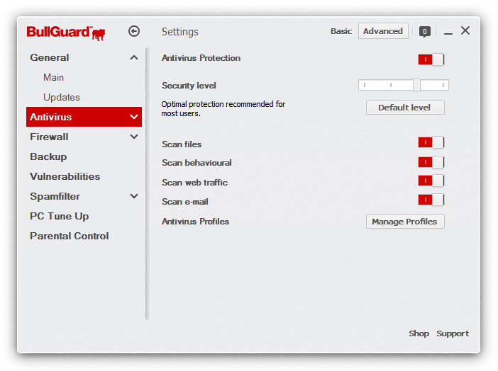 best settings bullguard