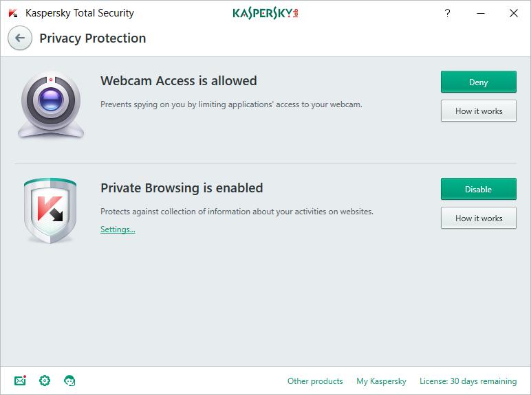 kaspersky privacy